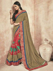 Copper And Red Color Twist Tusser Party Wear Sarees : Trinaina Collection  YF-45394