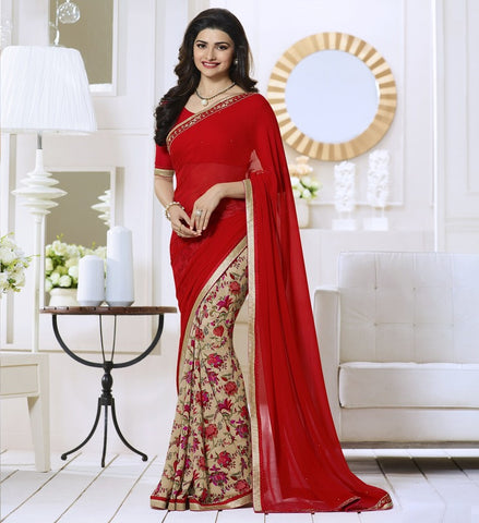 Light Coffee & Red Color Georgette Party Wear Sarees : Vivita Collection  YF-46609
