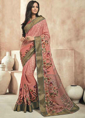 Pink Color Twist Tusser Party Wear Sarees : Trinaina Collection  YF-45395