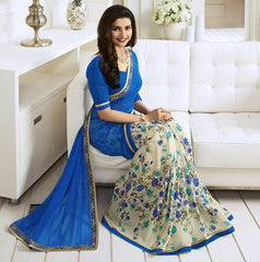 Cream & Blue Color Georgette Party Wear Sarees : Vivita Collection  YF-46610