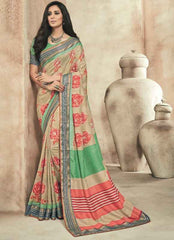 Beige And Pink Color Twist Tusser Party Wear Sarees : Trinaina Collection  YF-45398