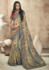 Grey Color Twist Tusser Party Wear Sarees : Trinaina Collection  YF-45401