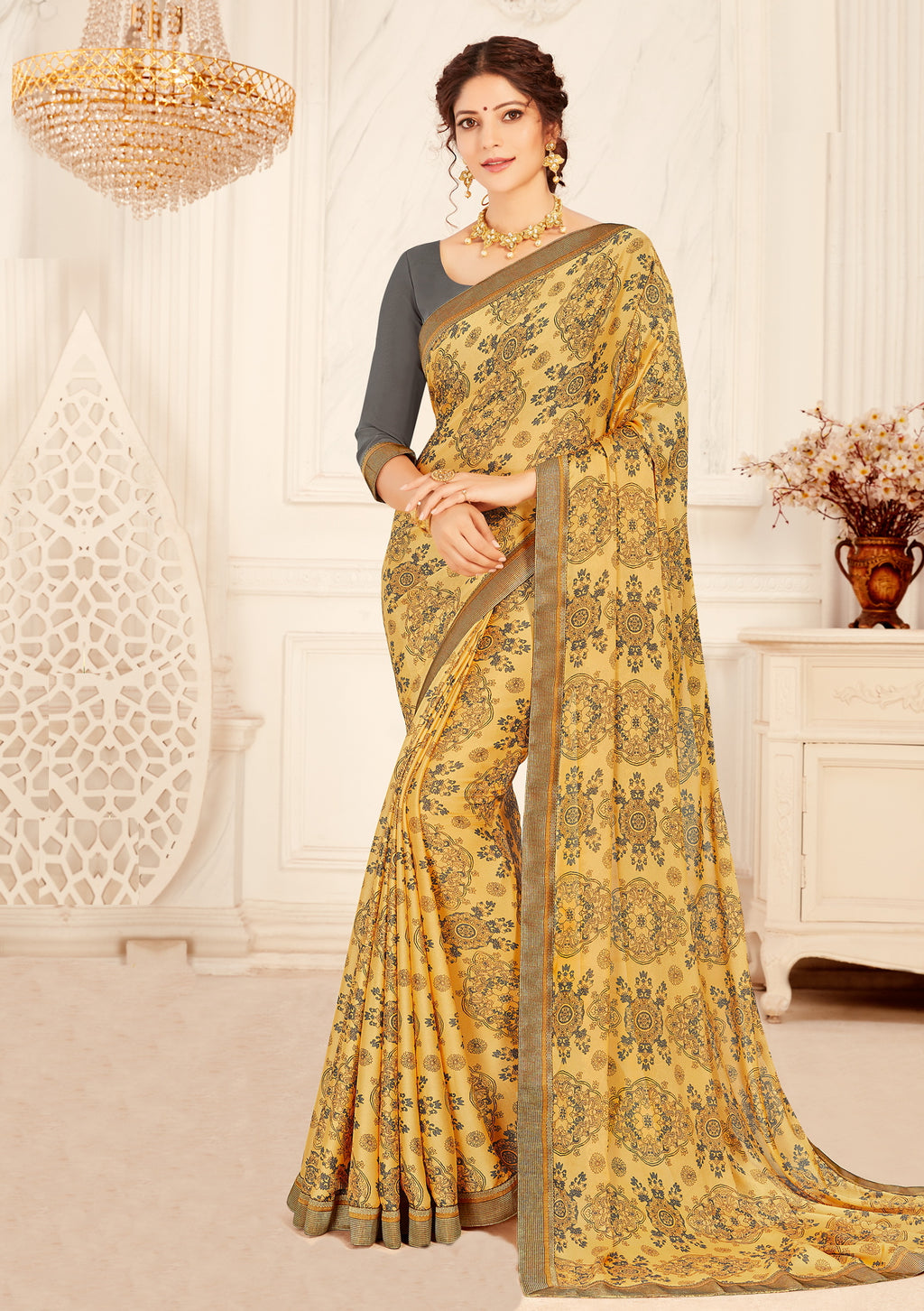 Light Yellow Color Crepe Georgette Trendy Casual Party Sarees NYF-6333