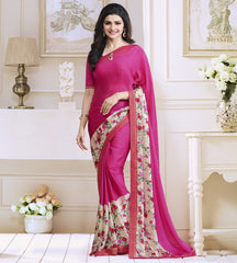 Rani Pink Color Satin Georgette Casual Function Sarees : Naitika Collection  YF-48063