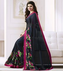 Navy Blue Color Satin Georgette Casual Function Sarees : Naitika Collection  YF-48065