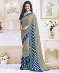 Mud Color Satin Georgette Casual Function Sarees : Jaivik Collection  YF-52021