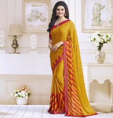 Mango Yellow Color Satin Georgette Casual Function Sarees : Naitika Collection  YF-48066