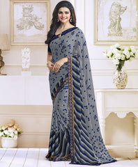 Grey Color Satin Georgette Casual Function Sarees : Jaivik Collection  YF-52022