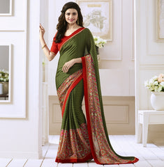 Mehendi Green Color Satin Georgette Casual Function Sarees : Naitika Collection  YF-48067
