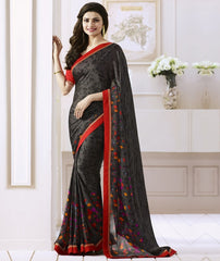 Grey & Black Color Satin Georgette Casual Function Sarees : Naitika Collection  YF-48068
