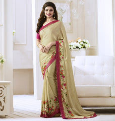 Cream Color Satin Georgette Casual Function Sarees : Naitika Collection  YF-48069