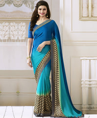 Light & Dark Blue Color Satin Georgette Casual Function Sarees : Naitika Collection  YF-48070