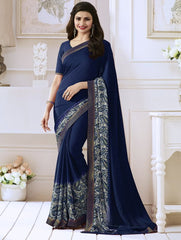 Blue Color Georgette Festival & Function Wear Sarees : Nikki Collection  YF-50915