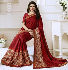 Red Color Satin Georgette Casual Function Sarees : Naitika Collection  YF-48073