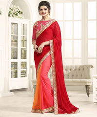 Red, Pink & Orange Color Wrinkle Chiffon Festival & Function Wear Sarees : Eshani Collection  YF-50803