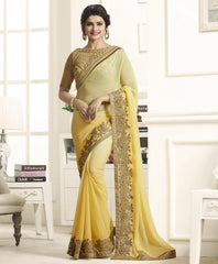 Light Yellow Color Wrinkle Chiffon Festival & Function Wear Sarees : Eshani Collection  YF-50804