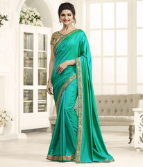 Green Color Crepe Festival & Function Wear Sarees : Eshani Collection  YF-51540