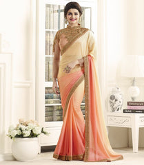 Light Yellow & Pink Color Georgette Festival & Function Wear Sarees : Eshani Collection  YF-50805