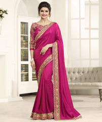 Rani Pink Color Crepe Festival & Function Wear Sarees : Eshani Collection  YF-50806