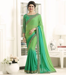 Green Color Georgette Festival & Function Wear Sarees : Eshani Collection  YF-50807