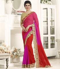 Red & Pink Color Wrinkle Chiffon Festival & Function Wear Sarees : Eshani Collection  YF-50808