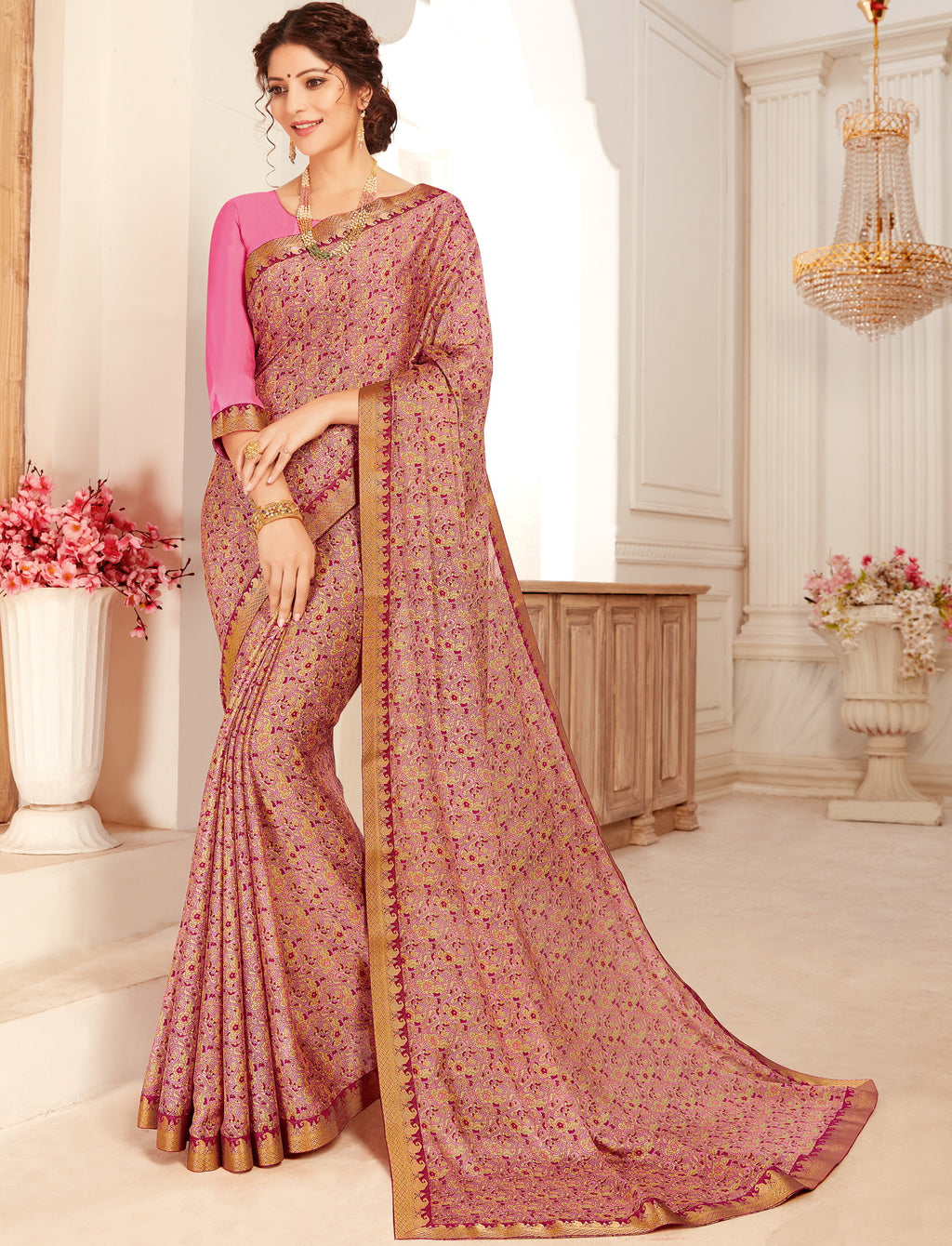Pink Color Crepe Georgette Trendy Casual Party Sarees NYF-6335