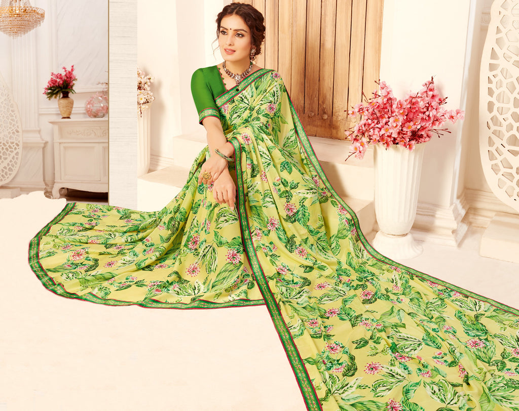 Yellow & Green Color Crepe Georgette Trendy Casual Party Sarees NYF-6336