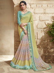Cream & Mehendi Green Color Georgette Party Wear Sarees : Jansi Collection  YF-45599
