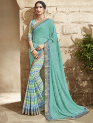 Blue & Sea Green Color Georgette Party Wear Sarees : Jansi Collection  YF-45601