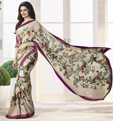 Cream Color Crepe Party Wear Sarees : Pamira Collection  YF-51573