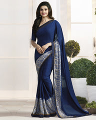 Blue Color Crepe Party Wear Sarees : Pamira Collection  YF-51575
