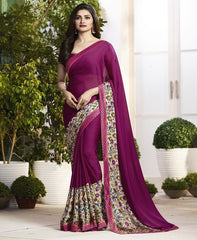 Magenta Color Crepe Party Wear Sarees : Pamira Collection  YF-51576