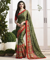 Mehendi Green Color Crepe Party Wear Sarees : Pamira Collection  YF-51577