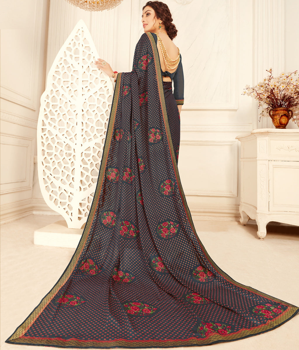 Blue Color Georgette Trendy Casual Party Sarees NYF-6337