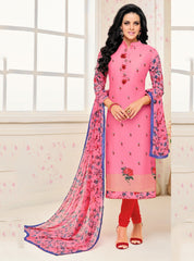 Pink Color Chanderi Cotton Semi Stitched Salwar Suits : Prabhati Collection  YF-60043