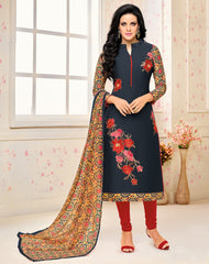 Navy Blue Color Chanderi Cotton Semi Stitched Salwar Suits : Prabhati Collection  YF-60047