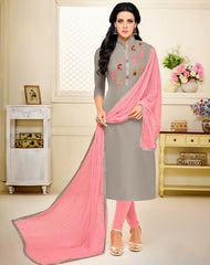 Grey Color Chanderi Cotton Semi Stitched Salwar Suits : Prabhati Collection  YF-60048