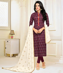 Magenta Color Chanderi Cotton Semi Stitched Salwar Suits : Prabhati Collection  YF-60050