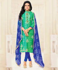 Green Color Chanderi Cotton Semi Stitched Salwar Suits : Prabhati Collection  YF-60052