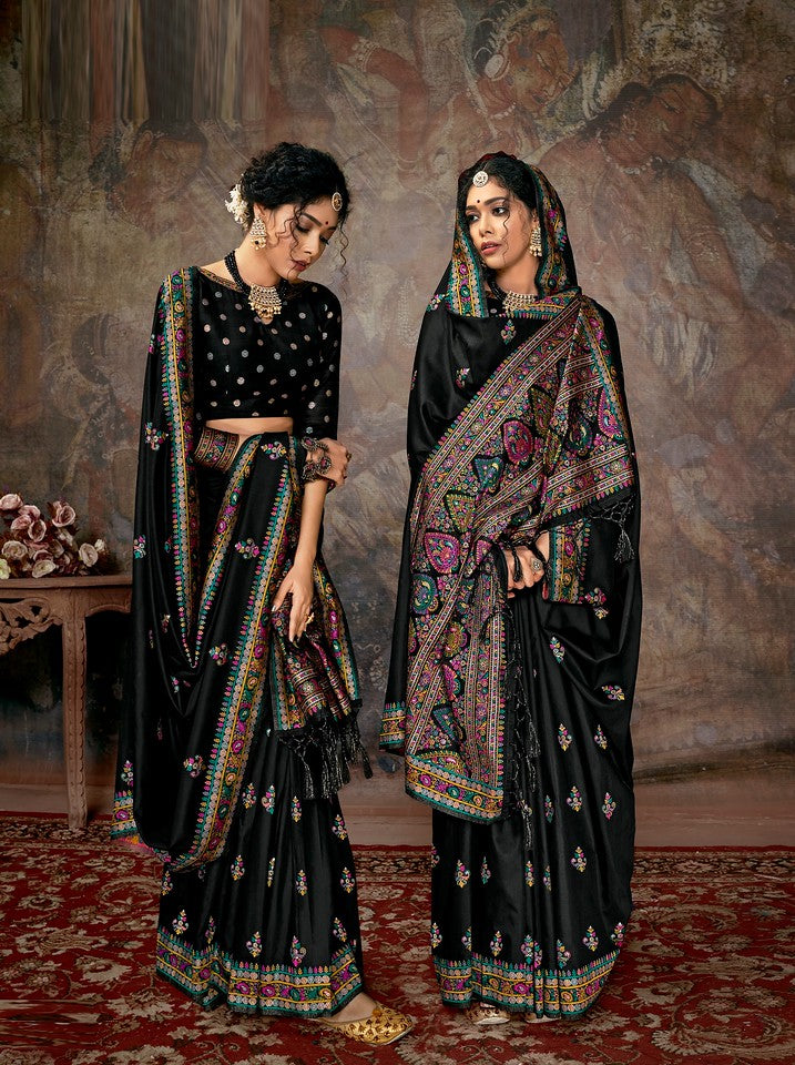 Black Color Cotton Silk Traditional Wear Saree Aakarsh Collection   YF#11702