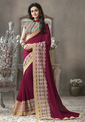 Maroon Color Georgette Festival & Function Sarees : Krinali Collection  YF-30425