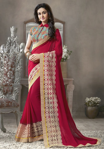 Red Color Georgette Festival & Function Sarees : Krinali Collection  YF-30426