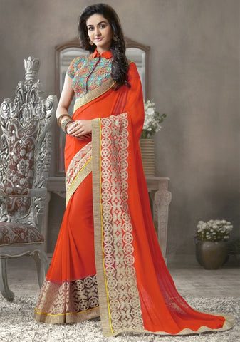 Orange Color Georgette Festival & Function Sarees : Krinali Collection  YF-30427