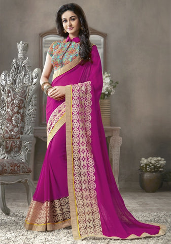 Rani Pink Color Georgette Festival & Function Sarees : Krinali Collection  YF-30428