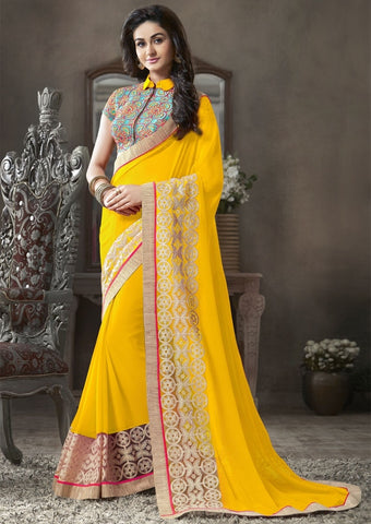 Yellow Color Georgette Festival & Function Sarees : Krinali Collection  YF-30429