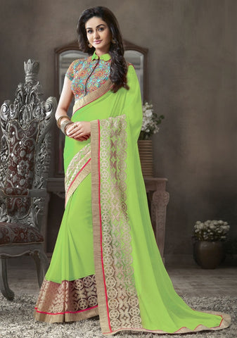 Parrot Green Color Georgette Festival & Function Sarees : Krinali Collection  YF-30430
