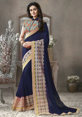 Blue Color Georgette Festival & Function Sarees : Krinali Collection  YF-30431