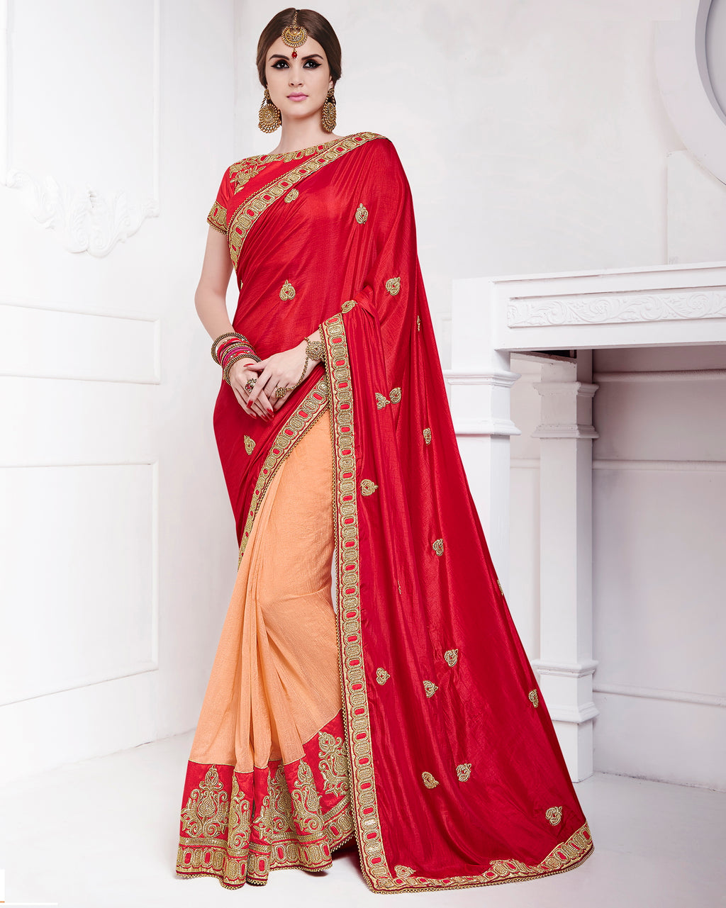 Red & Peach Color Satin Party Wear Sarees : Pinati Collection  NYF-3389 - YellowFashion.in
