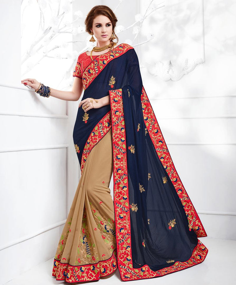 Blue & Light Coffee Color Chiffon Party Wear Sarees : Pinati Collection  NYF-3390 - YellowFashion.in