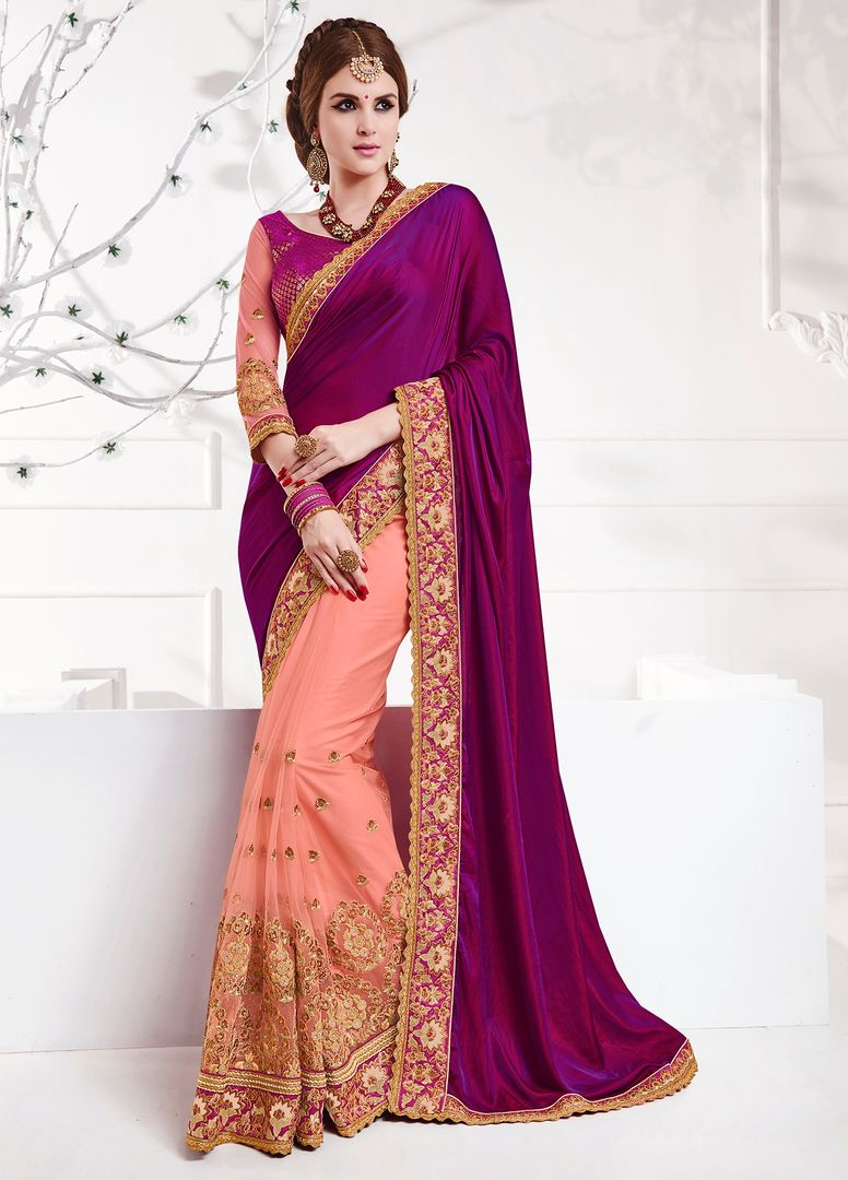 Purple & Pink Color Satin Party Wear Sarees : Pinati Collection  NYF-3391 - YellowFashion.in